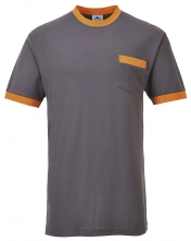Triko Texo Contrast PES/bavlna kapsa na prsou kulatý průkrčník šedo/oranžové