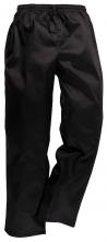 Kalhoty CHEFS Komfort PES/BA volný rovný střih elastický pas stahovací šňůrka v pase černé