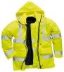Bunda PW TRAFFIC 4v1 Hi-Vis kapuce vyjímatelná vložka reflexní pruhy zateplená nepromokavá HV žlutá