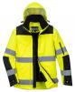 Bunda PW PRO Hi-Vis 3v1 PES 300D Oxford Weave prodyšná zateplená reflexní pruhy kapuce žluto/černá