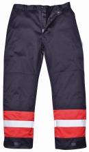 Kalhoty BIZFLAME PLUS do pasu antistatické nehořlavé reflexní pruhy tmavě modré/červené velikost XL