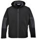 Softshellová bunda PW TECHNIK 3L membrána TRIPLE DRY kapuce nepromokavá kapsy na zip černo/šedá
