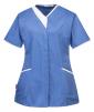 Pracovní blůzka PW Modern Style PES/BA dámská projmutá krátký rukáv šikmé kapsy kontrastní stojáček světle modro/bílá