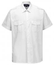 Košile PILOT s 2 kapsami na prsou krátký rukáv bílá velikost 42