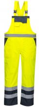 Kalhoty PW DUO Hi-Vis laclové nepromokavé reflexní pruhy žluto/tmavě modré