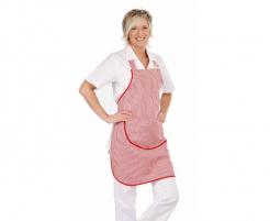 Zástěra s náprsenkou CERVA VENUS 100% bavlna kapsa tkaloun přes krk svislé pruhy červeno/bílá