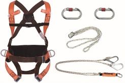 Souprava pro práci ve výšce - postroj HAR14 úchytné lano tlumič s 2 lany a háky a 2 karabiny