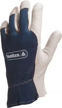 Rukavice DELTA PLUS CT402 kozinka v dlani přetažená přes prsty hřbet bavlna volná manžeta šedo/modrá