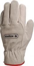 Rukavice Delta FCN29 celokožené dlaň hovězí lícovka hřbet hovězí štípenka stažené zápěstí pruženkou šedé