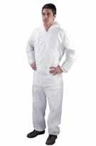 Kombinéza SHIELD DC03 polypropylen jednorázová zapínání na zip pružné konce rukává a nohavic s kapucí bílá