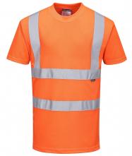 Tričko PW RIS krátké rukávy PES úplet Bird Eye výstražné reflexní pruhy 2 vodorovně + 2 svisle HV oranžové