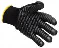 Rukavice PW BuildTex® VIBRASAFE úplet bavlna/nylon pryžové antivibrační segmenty pružná manžeta černé