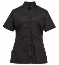 Pracovní blůzka PW Premier PES/BA dámská projmutá krátký rukáv šikmé nízký stojáček černá