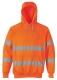 Mikina KLOKANKA Hi-Vis s kapucí reflexní pruhy výstražná oranžová velikost XXL