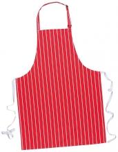 Zástěra PW Butcher s náprsenkou tkaloun okolo krku červená s bílými pruhy