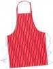 Zástěra PW Butcher s náprsenkou nastavitelný popruh okolo krku zavazovací tkalouny červená s bílými pruhy