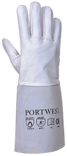 Svářečské rukavice Premium Tig celokožené dlouhé kozinka/hovězina šedé velikost 10
