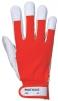 Rukavice PW TERGUS kombinovaná jemná vepřovice v dlani a prstech přetažená přes nehty s bavlněnou tkaninou červeno/šedá