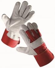Rukavice CERVA EIDER kombinované zesílené červená bavlna/hovězí štípenka