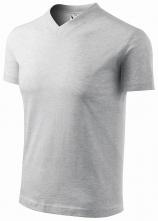 """Tričko V-neck 160 bavlna průkrčník do """"V"""" krátký rukáv světle šedý melír"""