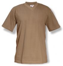 """Tričko V-neck 160 bavlna průkrčník do """"V"""" krátký rukáv khaki"""