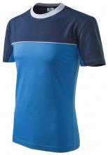 Tričko Malfini Colormix 200 bavlna kulatý průkrčník dvoubarevné provedení azurově modré/tmavě modré