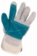 Rukavice CXS FALCO hovězí štípenka zesílená v dlani a na ukazováčku jednoduchá manžeta zeleno/šedá