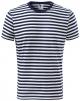 Tričko MALFINI Sailor 150 bavlněné bezešvý střih trupu kulatý průkrčník pruhované modro/bílé
