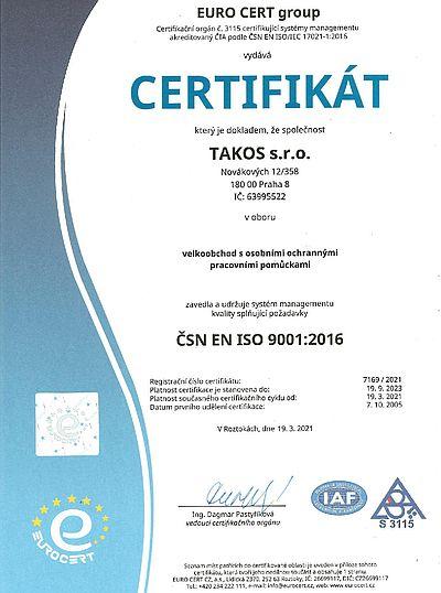 Takos® - Certifikace ISO 9001:2016 - Certifikováni mezinárodním standardem kvality pro spokojenost zákazníků